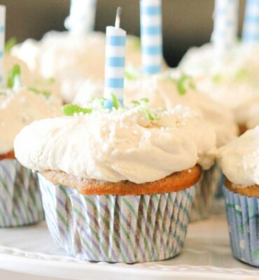 Birthday Key Lime Cupcakes with Whipped Coconut Frosting