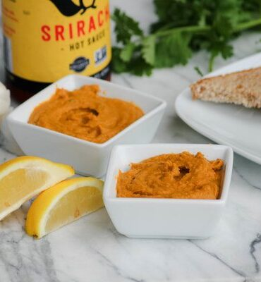 Roasted Red Pepper Hummus with Sriracha Sauce