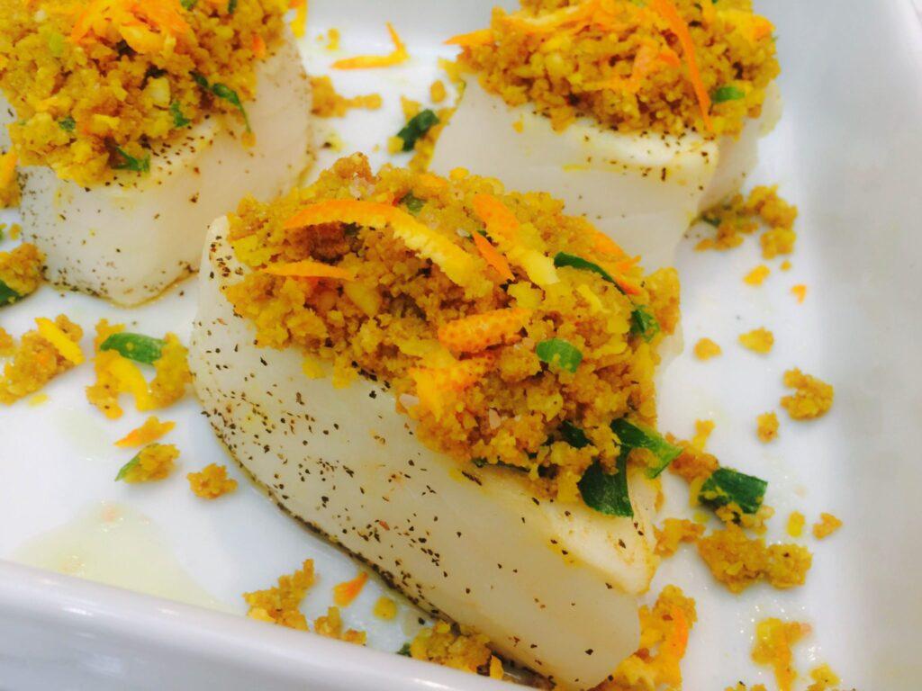 Chilean sea bass recipe with macadamia orange crust for Turkish sea bass recipe