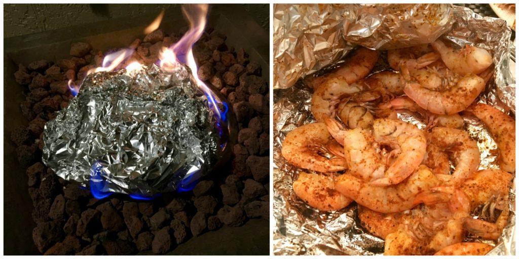 cooking shrimp on coals