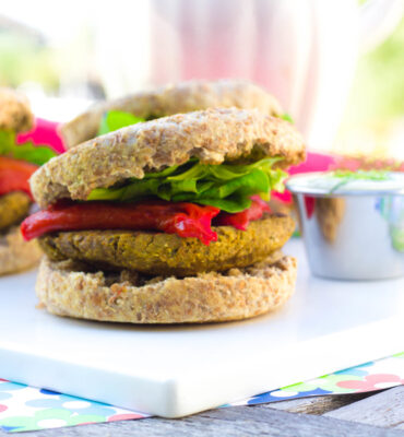 Baked Falafel Burger Recipe (with Dairy Free Dill Sauce)