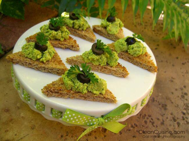 Edamame Hummus on Sprouted Whole Grain Crostini