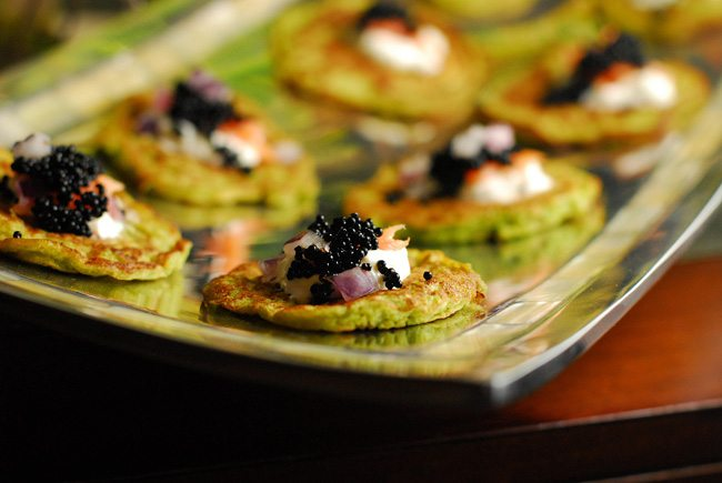 Green Pea Blinis with Caviar & Smoked Salmon
