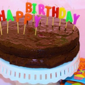 Chocolate Healthy Birthday Cake with Chocolate Frosting