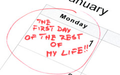 New Year's resolution for a new life life marked on the calendar