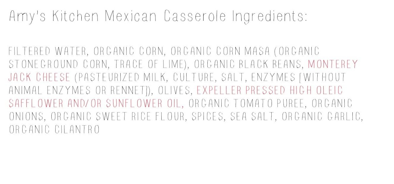Amy's Kitchen Mexican Casserole Ingredients