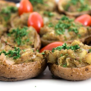 Clean Appetizer-Size Loaded Potato Skins (with Crab and Pesto)