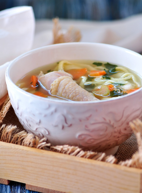 chicken soup with whole chicken