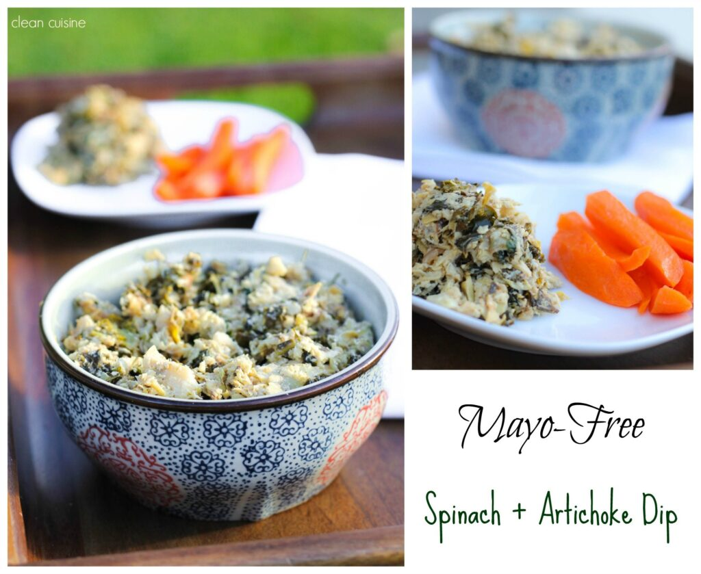 Mayo Free Spinach and Artichoke Dip