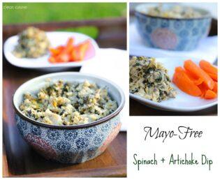 Mayo Free Spinach and Artichoke Dip