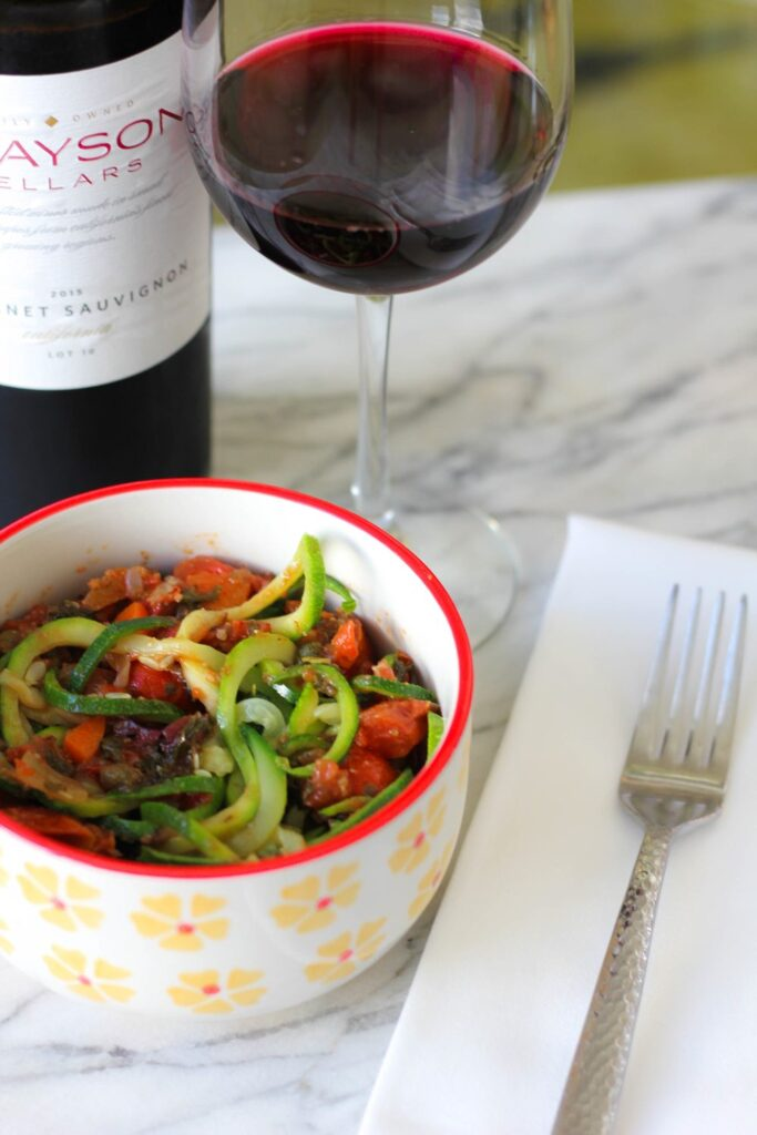 Puttanesca Recipe with Zucchini Pasta