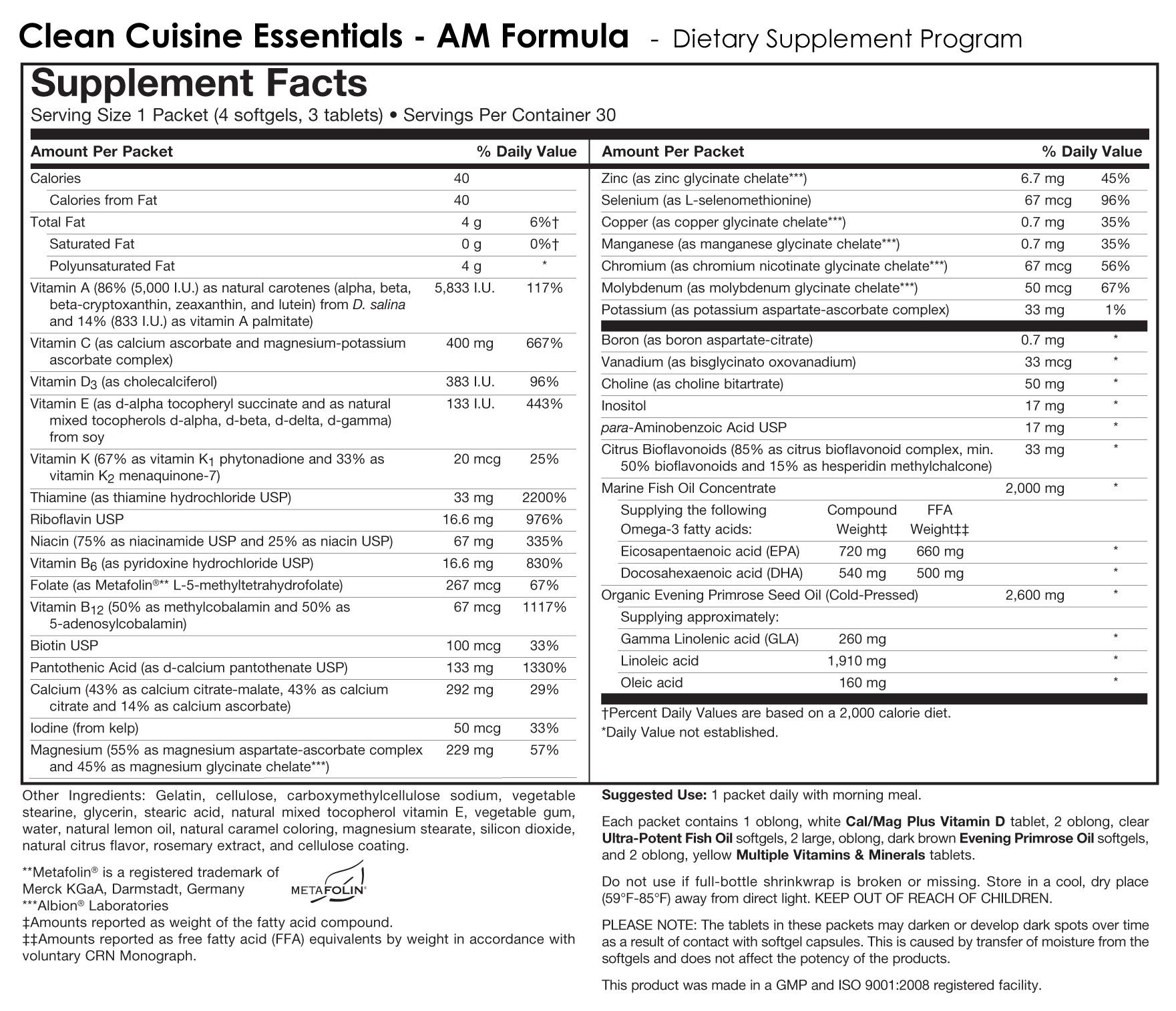 AM PM Nutritional Label