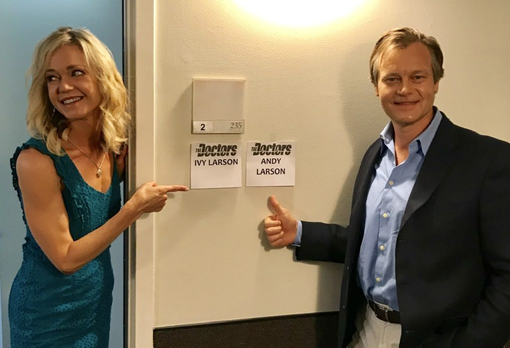 Ivy and Andy Larson backstage at the DOCTORS TV SHOW